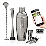 Image of Tengro Cocktail Shaker Bar Tools Complete Set with unique Cocktail Recipes Mobile App. Quality Bartender kit for Home.