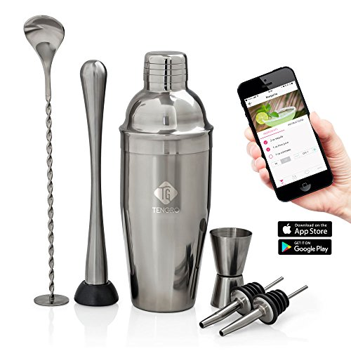 Tengro Cocktail Shaker Bar Tools Complete Set with unique Cocktail Recipes Mobile App. Quality Bartender kit for Home.