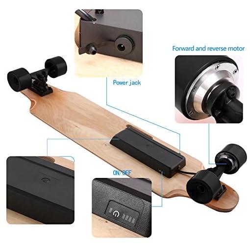 Laiozyen Longboard Électrique – Scooter Skateboard Électrique Adulte avec Télécommande sans Fils, Moteurs 250W, Vitesse Maximal 20km/h Autonomie E-Skateboards