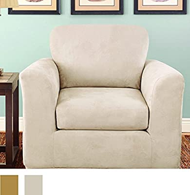 Sure Fit Stretch Suede Bench Seat - Loveseat Slipcover - Chocolate