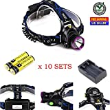 Set of 10 90 Degree Adjustable LED Headlamp Flashlight Headlight Torch 5000 Lumens XM-L T6 with 6000 mAh Two Rechargeable Battery | Best for Camping Running Hiking Biking | Aluminum Alloy