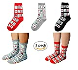 Elufly Creative Mah Jong Print Novelty Cotton Crew Socks Pack of 3 for Men Women (Mahjong print/mixcolor)