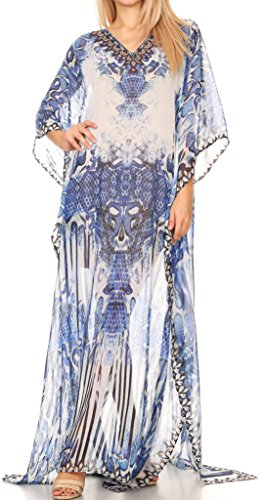 Sakkas P4 - LongKaftan Wilder Printed Design Long Semi Sheer Caftan Dress/Cover Up - 17157-BlueWhite - OS