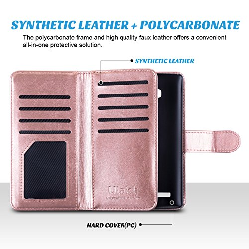 LG G4 Hülle, ULAK LG G4 Flip Case Cover Stoßfest TPU Case Lederhülle mit Ständer Schutzhülle für LG G4 mit 9 Kartenschlitz (Rosé Gold)