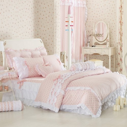 Pink Polka Dot Bedding Sets,Rustic Girls Duvet Cover Set ,Queen Size,4Pcs (Queen Size Pink Princess Bedding)