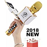 2018 YEAR Bluetooth Portable Wireless Karaoke Microphone with Built-in Speaker, Wired karaoke machine with mics for iPhone, Android, Tablet, Ipad and Smartphone, KTV for Kids and Girls
