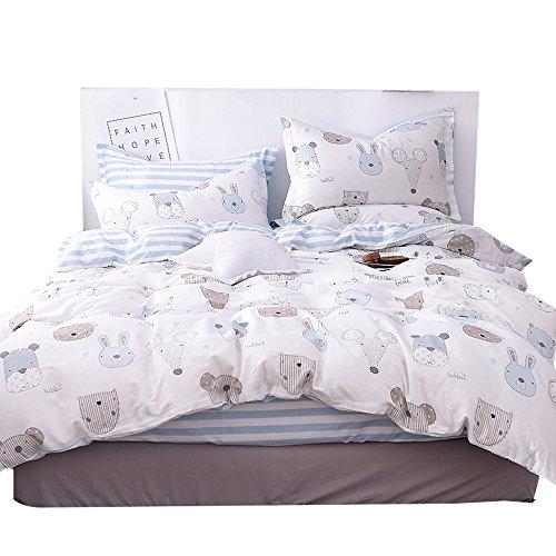 OTOB Cats Dogs Print Kids Full Duvet Cover Bed Set, 100% Cot