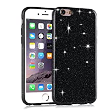 TENDLIN iPhone 6s Case Glitter Bling Back Flexible TPU Silicone Hybrid Slim Fit Soft Cover for iPhone 6 6s (Black)