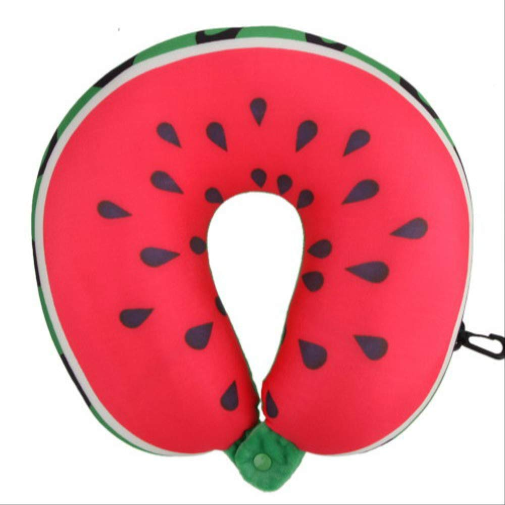 WZ YDTH Fruit U-Shaped Travel Pillow Nano Particle Neck Pillow Watermelon Pillow Cushion by WZ YDTH