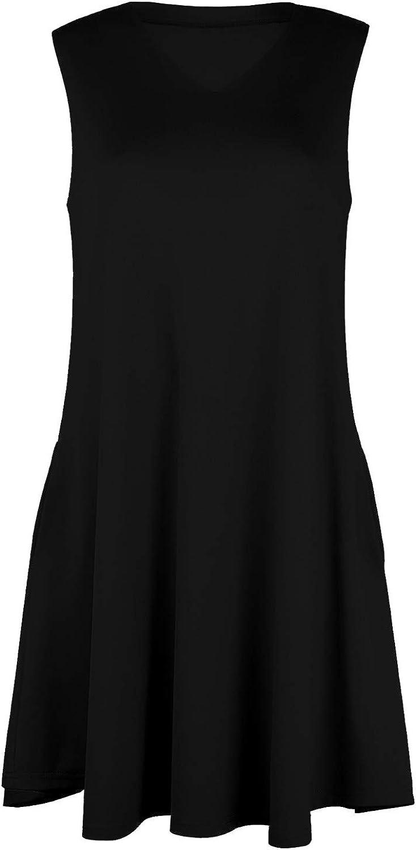 Womens Ladies Skater Sleeveless Peplum Frill Strappy Swing High Neck Mini Dress
