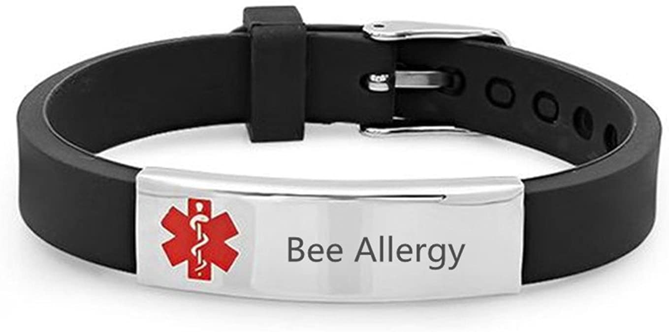 LMXXV Customize Engraved Medical Alert Allergy ID Rubber Silicone Emergency Bracelet for Men Women,5.5-6.3-6.7-7.0-7.5-7.9,15 Color
