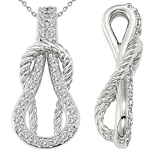 0.31 Carat G-H Diamond Beautiful Fancy Charm Rope Love Knot Pendent Necklace With Chain 14K White Gold ()