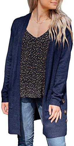 Misassy Womens Open Front Long Sleeve Lightweight Knit Cardigans Sweater with Pockets