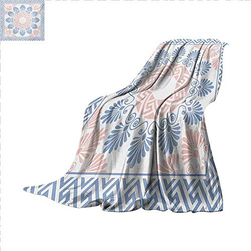 Greek Key Weave Pattern Extra Long Blanket Pastel Pink White and Blue Round Floral Grecian Fret Hellenic Ornament Custom Design Cozy Flannel Blanket 90 x 70 inch Baby Blue Blush -