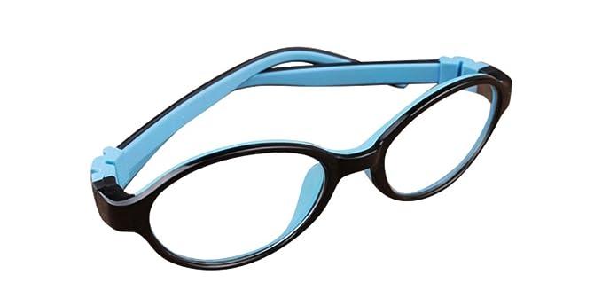 cd35f034e08 De Ding Children Silicone Eyeglasses Kids Myopia Optical Frames (C13 black  blue)