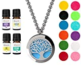 """mEssentials Tree of Life Essential Oil Diffuser Necklace Gift Set - Includes Aromatherapy Pendant, 24"""" Stainless Steel Chain, Refill Pads and 100% Pure Oils (Lavender, Peppermint, Inner Calm and Zen)"""