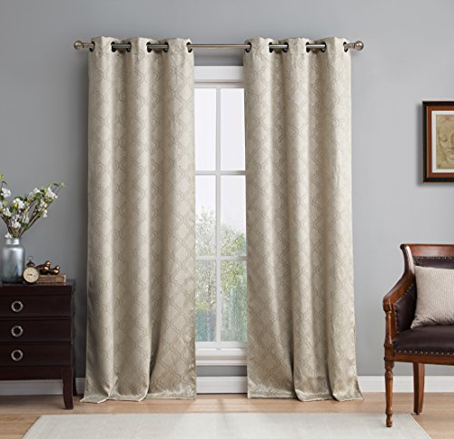 HLC.ME Lattice Thermal Room Darkening Energy Efficient Blackout Curtains / Drapes for Living Room - Set of 2 - 108