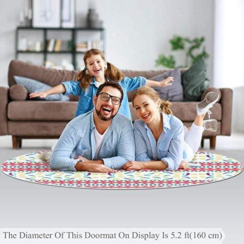 Balkon Babyzimmer Kreis 70cm superweich f/ür Wohnzimmer Wetia Farbige geometrische Linien 37 Runder Teppich f/ür Kinder rutschfeste Au/ßenteppiche Kinderzimmer