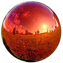 Lily's Home Glass Gazing Mirror Ball, Colorful and Shiny Addition to Any Garden or Home, Ideal As a Housewarming Gift, Sparkling Red (10 Inches Diameter)