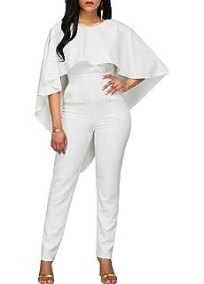 7a1c7bd40b5 Jitong Women s Shawl Sleeve Jumpsuit Round Neck Backless Romper Ruffles  Playsuit Long Trouser Clubwear
