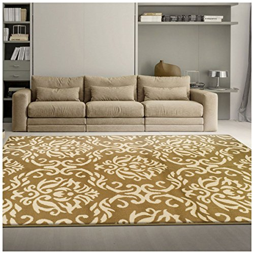 Superior Fleur de Lis Collection Area Rug, Elegant Scrolling Damask Pattern, 10mm Pile Height with Jute Backing, Affordable Contemporary Rugs - Gold, 8' x 10' Rug (De Lis Fleur Rug)