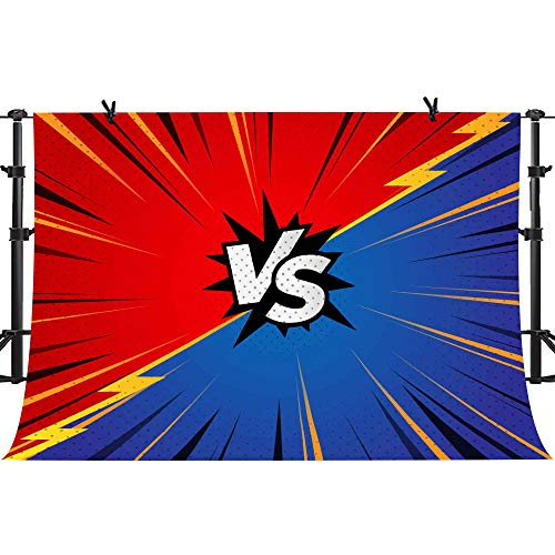 PHMOJEN VS Backdrop Red and Blue PK Photography Background Little Superhero Game Wrestling Backdrop Photo Booth Props 10x7ft -