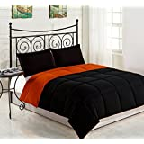 Cozy Beddings Reversible Down Alternative 3 Piece Comforter Set, King/Cal King, Orange/Black