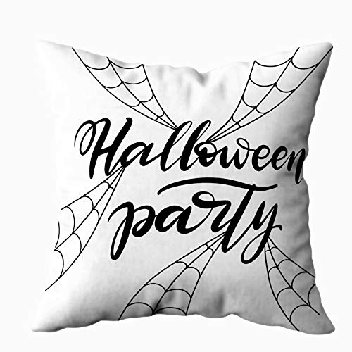 (Sertiony Bed Pillow Covers, Farmhouse Decorative Covers Square 18X18 inch Halloween White Background Invitation Party Card Web Phrase Halloween Template Soft for)