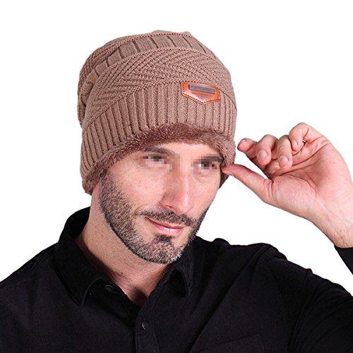 Gorro de esquí para hombre Butterme, cálido, suave, con forro grueso, lana gruesa, de uso diario caqui