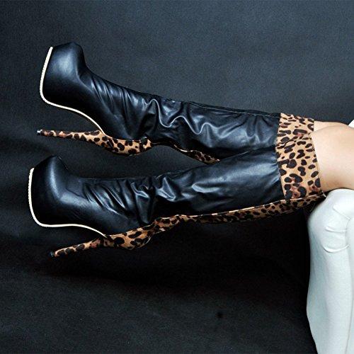 Party Kolnoo Femmes Mode Haute Talon Boots grande taille de Chaussures Prom Black 145mm Patchwork qH01Zq
