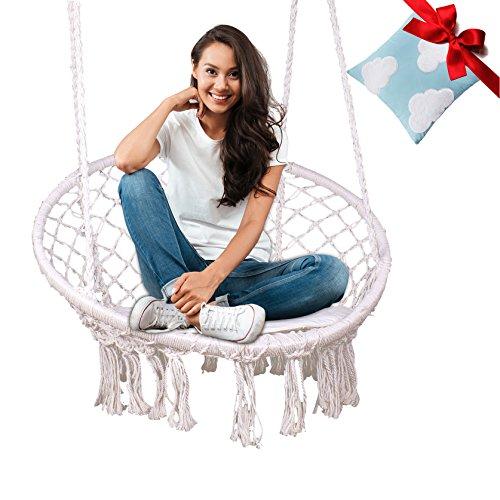 Rattan Pillow - Feiren Outdoor hammock chair Indoor Livingroom hanging Macrame Chairs swing hammock rattan chair Home deco/boho/Patio cushion/swinging chair for bedroom/hanging chairs (1 pillow 1hammock)