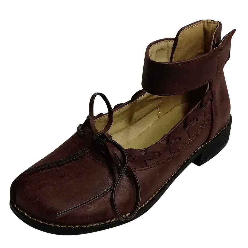 Kauneus Women's Vintage Round Toe Bowknot Weave Sandals Loafers Buckle Ankle Strap Slip-on Casual Shoes Purple by Kauneus Fashion Shoes