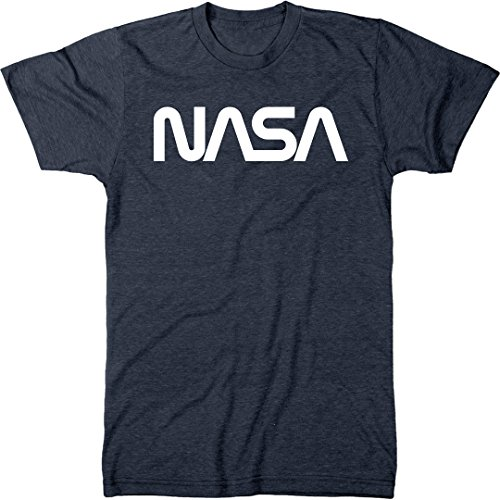 NASA Vintage White Worm Logo Men's Modern Fit Tri-Blend T-Shirt (Vintage Navy, X-Large)