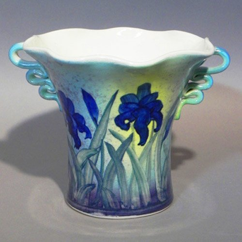 Spoon Holder - Porcelain Clay, Hand Painted and Wheel Thrown, a signed piece from Linden Hills Pottery