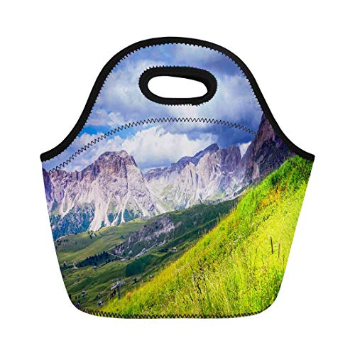 Semtomn Lunch Tote Bag Green Clouds Mountain Summit Range Landscape Edge Flower Fog Reusable Neoprene Insulated Thermal Outdoor Picnic Lunchbox for Men Women