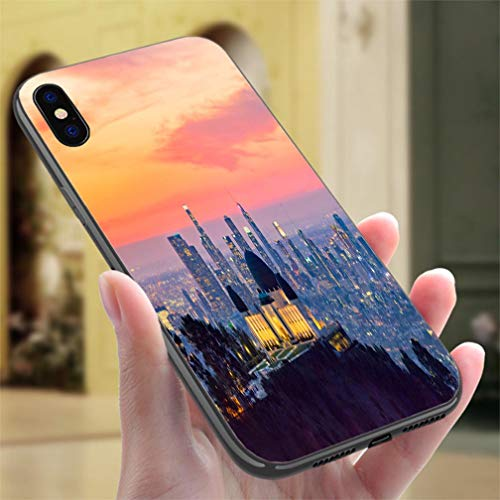 Creative iPhone Case for iPhone 7/8P Los Angeles Skyline at Dawn Panorama and Griffith Park Observatory in The Foreground Resistance to Falling, Non-Slip,Soft,Convenient Protective Case