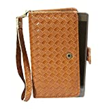 J Cover A9 I Elegant Series Leather Carry Case Cover Pouch Wallet Case For Micromax Canvas A82 Light Brown