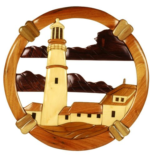 Distinctive & Unique Hand Carved Decorative Wooden Wall Hanging Decor Art Sculpture - Portland Head Lighthouse (11