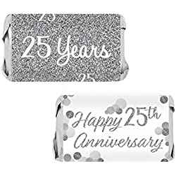 Silver 25th Anniversary Miniatures Candy Bar Wrapper Stickers, 54 Count