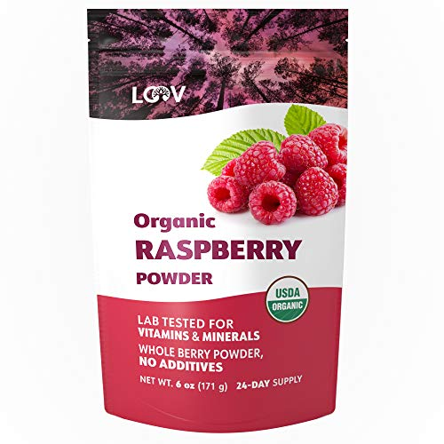 Organic Raspberry Powder, Made from 100% Whole Berries, Powdered Freeze Dried Raspberries, 6 oz, Raw, Grown in Europe, 24-Day Supply, no Additives, no Added Sugar, USDA/EU Certified Organic