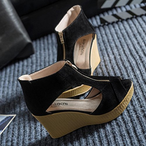 Fulltime® Platform Sandales Casual Wedges Toe Noir Chaussures Femmes Peep rgwqCBr