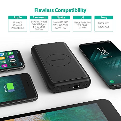 Portable Wireless Charger RAVPower 10000mAh External Wireless Battery Charger 5W Battery Pack for iPhone X, iPhone 8/8 Plus, Qi Wireless Power Bank for S9, S8,Note8 and Qi-Enabled Devices by RAVPower (Image #5)