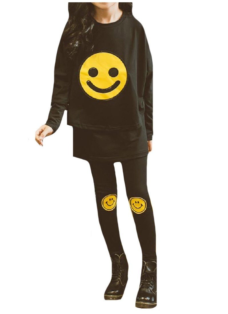 Sheng Xi Girl Fine Cotton Smile 2pcs Pullover Sweater and Pants Outfits Black 140