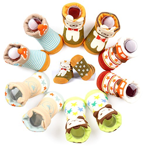 Dicry 5 Pairs Soft Non-slip Skid Unisex Baby Socks 3D Ears Newborn Toddler Gift (0-6 Months, E-Pairs of 5)