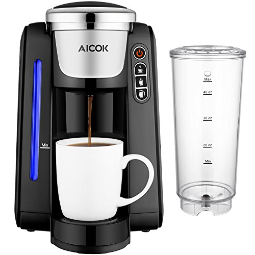 Single Serve Coffee Maker, Aicok K-Cup Pods Coffee Maker, Coffee Machine with Five Brew Sizes ...