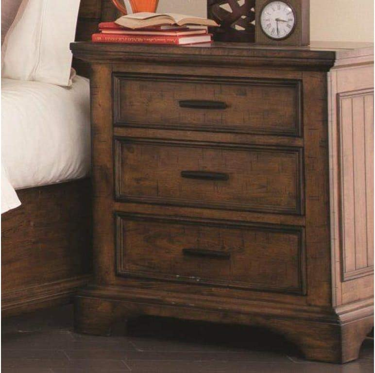 Coaster Home Furnishings Elk Grove Nightstand with Wire Cord Vintage Bourbon