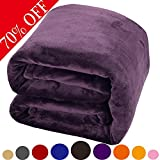 Luxury Fleece Blanket by Shilucheng Super Soft and Warm Fuzzy Plush Lightweight King Couch Bed Blankets - Purple