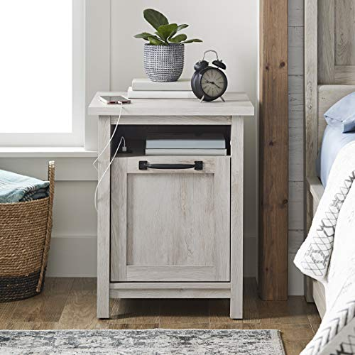 Better Homes & Gardens Modern Farmhouse End Table Nightstand with USB, Rustic White Finish from Better Homes & Gardens