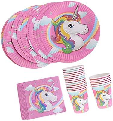 Baoblaze 40 Unids Platos Vasos Servilleta de Papel Mágico Unicornios para Baby Shower Vajilla