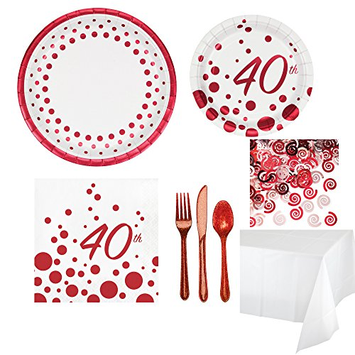 40th Ruby Anniverary Party Supplies Pack Kit for 8 Guests - 40th Cocktail Napkins